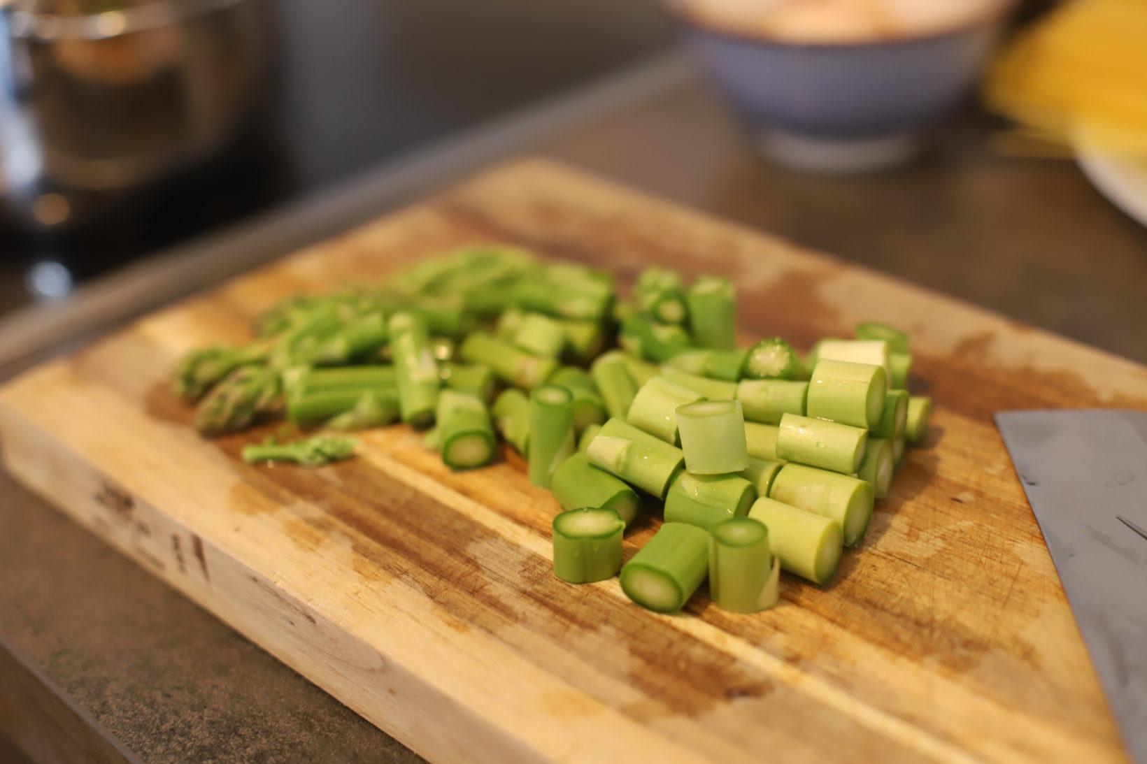 raw asparagus cut into pieces