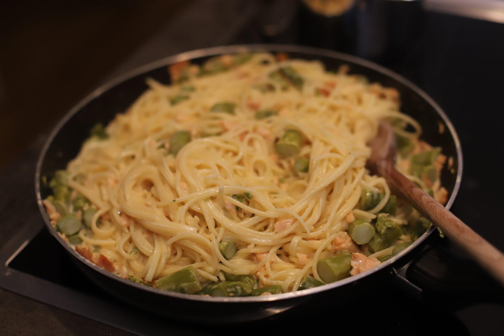 salmon asparagus pasta with vodka