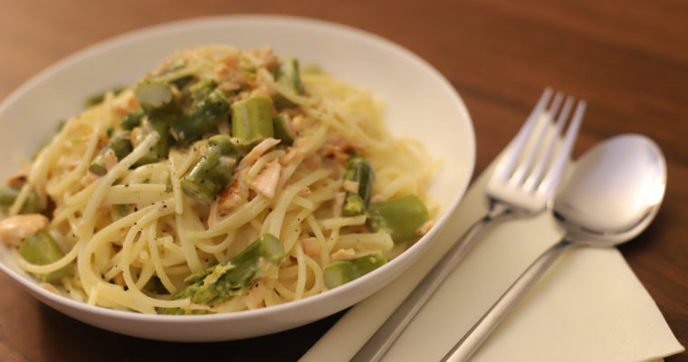 Salmon Asparagus Pasta with Vodka